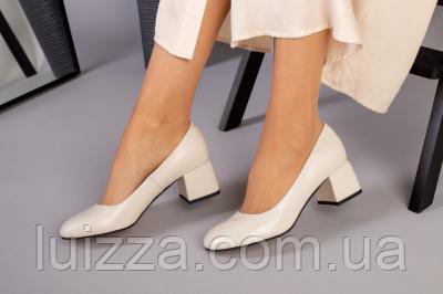 Туфли женские кожаные бежевые на каблуке