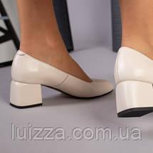 Туфли женские кожаные бежевые на каблуке, фото 2