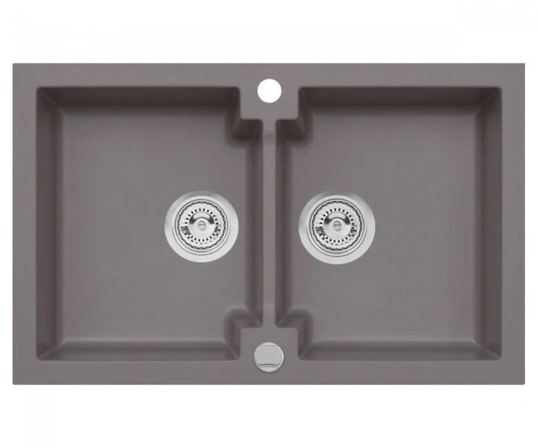 Подвійна кухонна мийка з клапаном AXIS HONEST, місячне сяйво, 1.147.120.60