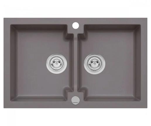 Подвійна кухонна мийка з клапаном AXIS HONEST, місячне сяйво, 1.147.120.60, фото 2