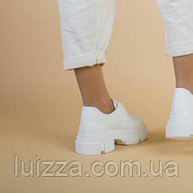 Туфли женские кожаные белые на массивной подошве, фото 2