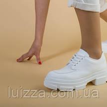 Туфли женские кожаные белые на массивной подошве, фото 3