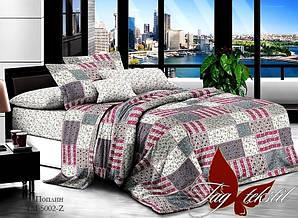 Двуспальный Евро комплект постельного белья поплин  с компаньоном TM-5002Z