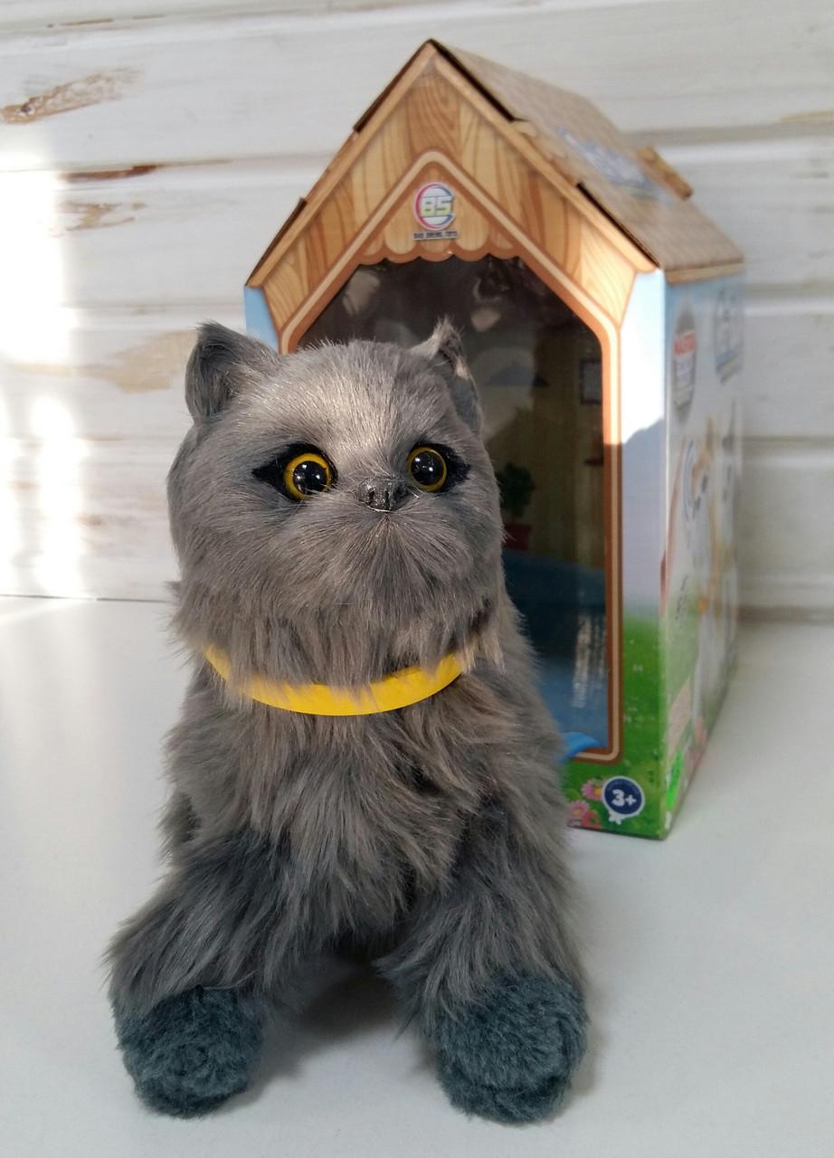 Интерактивная игрушка Кот,размер 19см, сенсорная, машет хвостом, двигает головой, звук,на батарейках 626-7