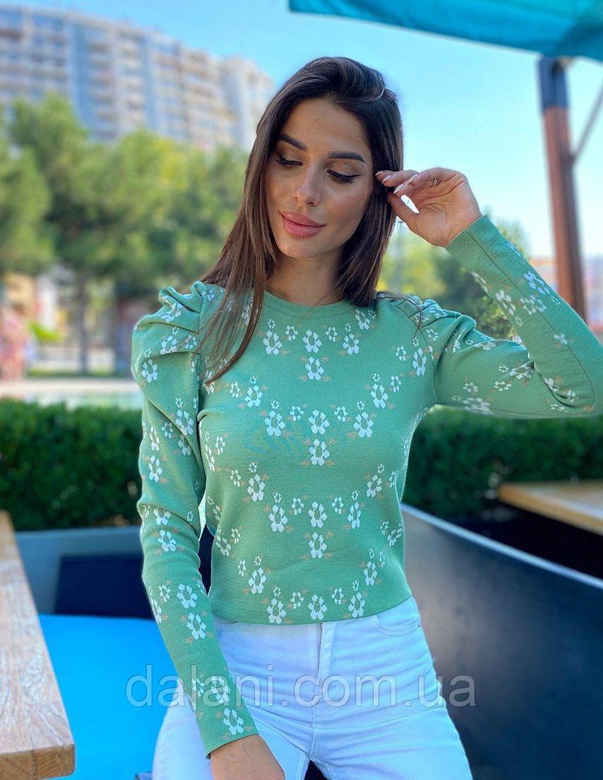 Женский зеленый джемпер с цветочным принтом