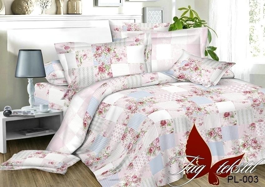 Полуторный комплект постельного белья поплин  с компаньоном PL003