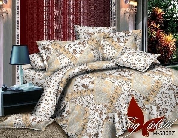 Полуторный комплект постельного белья поплин  с компаньоном TM5808Z