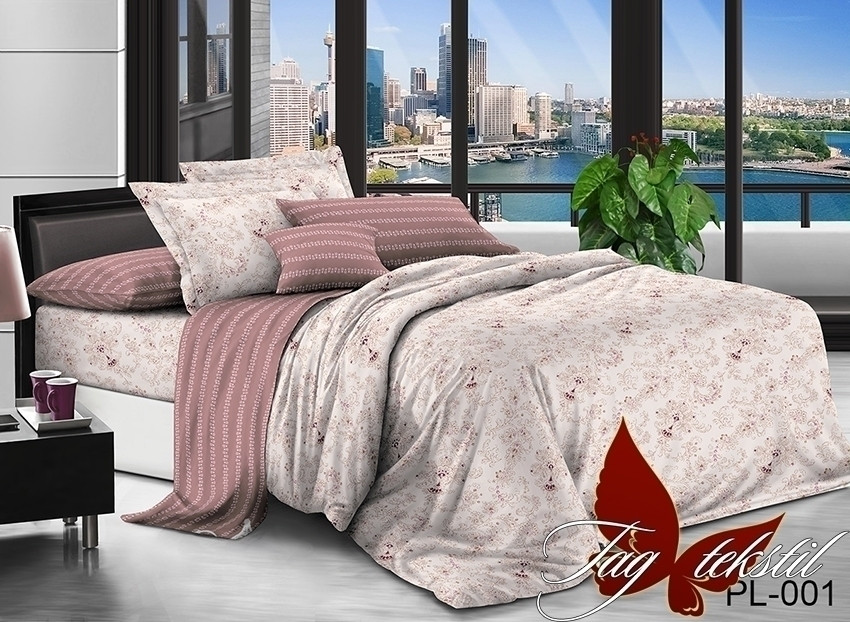Двуспальный комплект постельного белья поплин  с компаньоном PL001