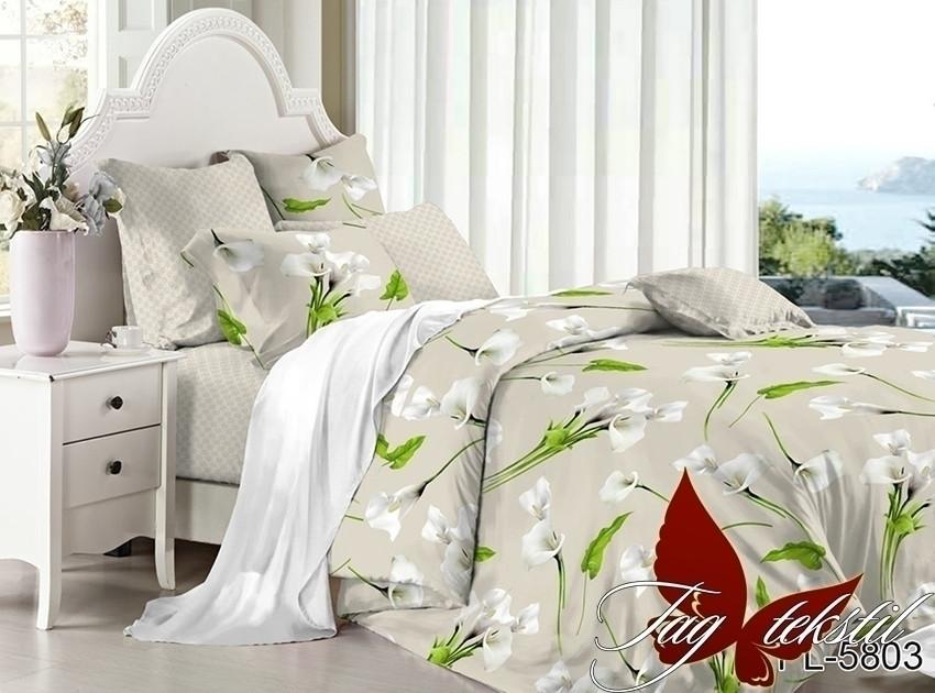 Двуспальный комплект постельного белья поплин  с компаньоном PL5803