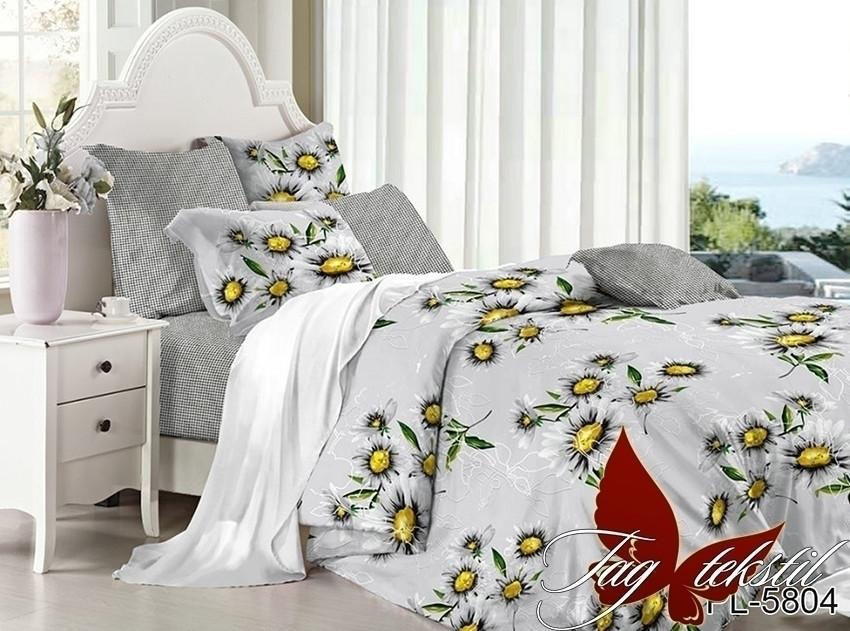 Двуспальный комплект постельного белья поплин  с компаньоном PL5804