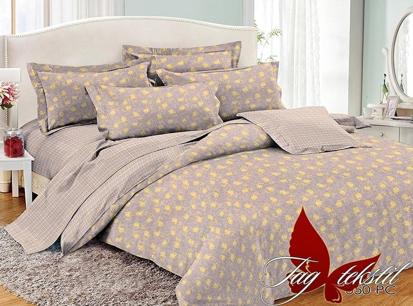 Двуспальный комплект постельного белья поплин  с компаньоном PC050