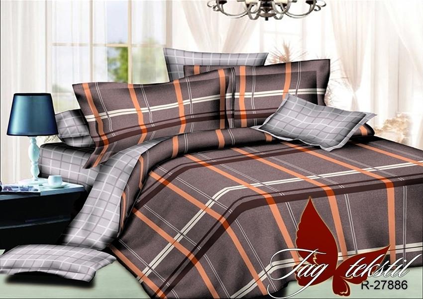 Двуспальный Евро комплект постельного белья Ранфорс  с компаньоном R27886