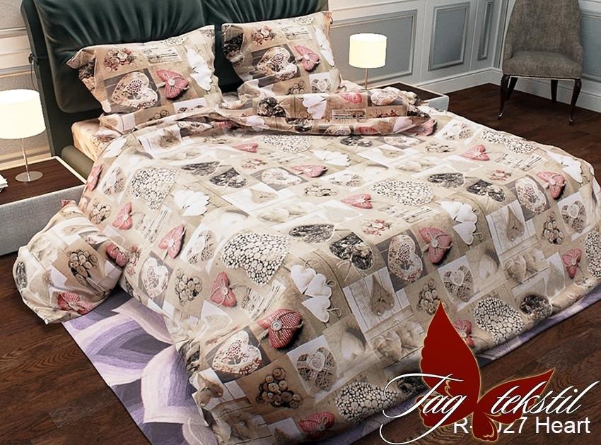 Двуспальный Евро комплект постельного белья Ранфорс   R2027 Heart