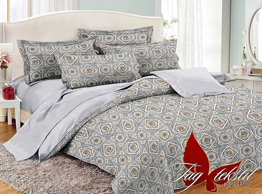 Полуторный комплект постельного белья поплин  с компаньоном PC052