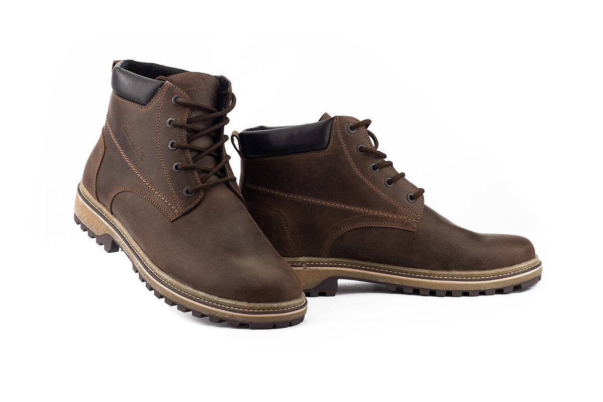 Мужские ботинки кожаные зимние коричневые-матовые