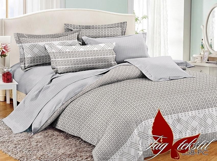 Двуспальный Евро комплект постельного белья поплин  с компаньоном PC058