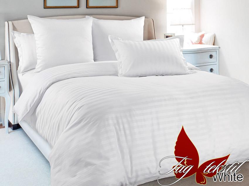 Двуспальный ЕВРО МАКСИ комплект постельного белья  Страйп сатин White