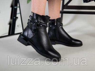 Ботинки женские кожаные черные на байке