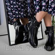 Ботинки женские кожаные черные на байке, фото 2