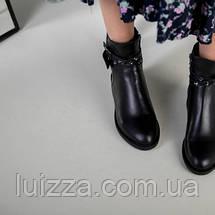 Ботинки женские кожаные черные на байке, фото 3