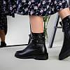 Ботинки женские кожаные черные на байке, фото 4