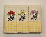 Набор  6 шт. вафельных полотенец Цветок / желтый клетка ., фото 2