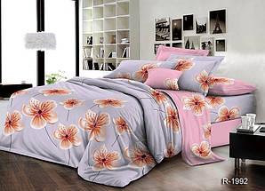 Двуспальный Евро комплект постельного белья Ранфорс  с компаньоном R1992