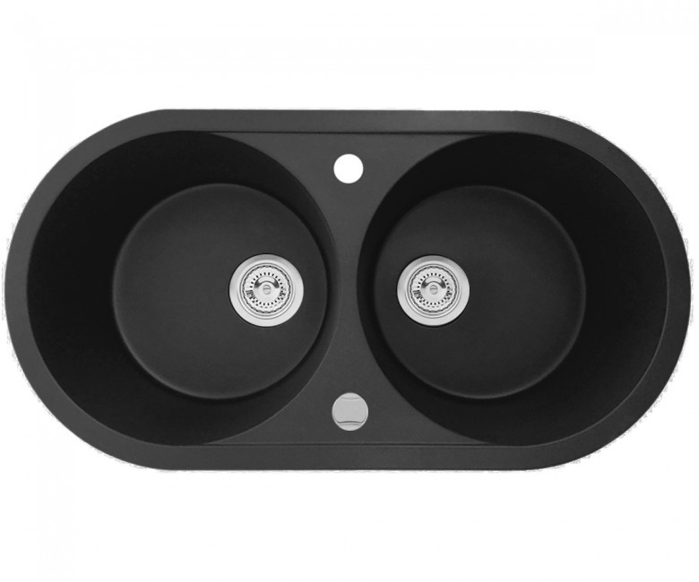 Подвійна мийка + клапан-автомат AXIS PLAY, чорна, 1.149.220.10