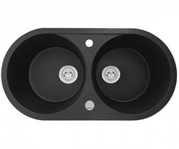 Кухонна мийка + клапан-автомат AXIS PLAY, чорна, 1.149.220.10