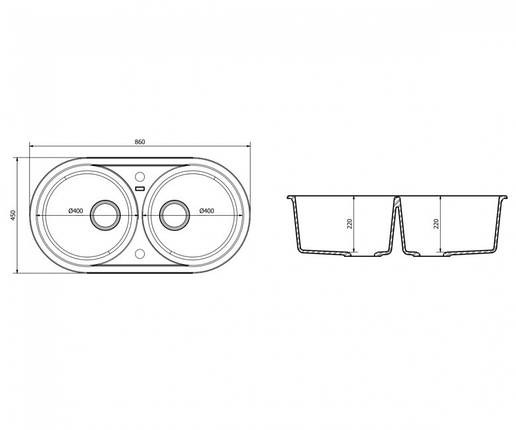 Подвійна мийка + клапан-автомат AXIS PLAY, чорна, 1.149.220.10, фото 2