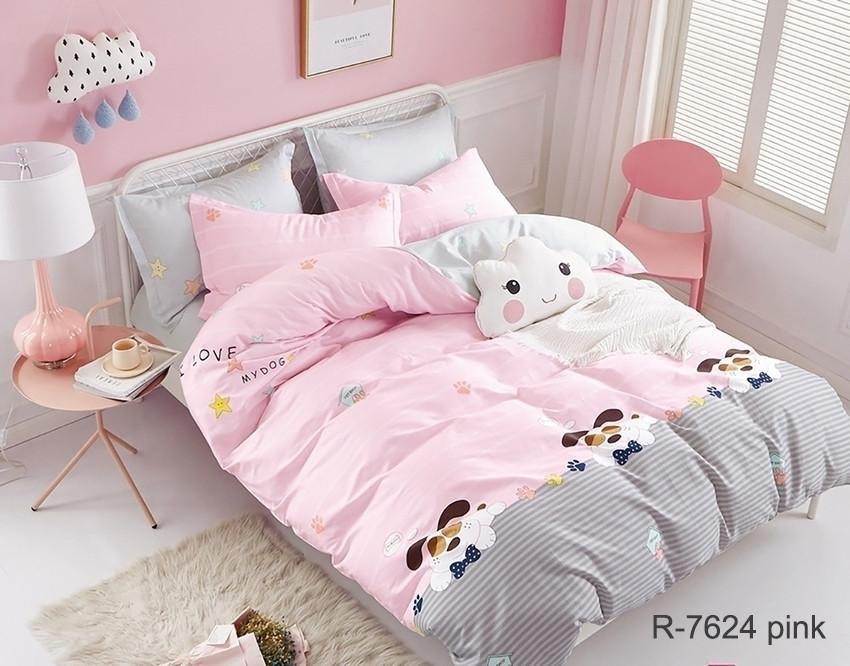 Полуторный комплект постельного белья Ранфорс с компаньоном R7624 pink