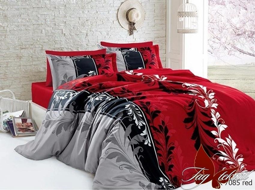Двуспальный Евро комплект постельного белья Ранфорс  R7085 red