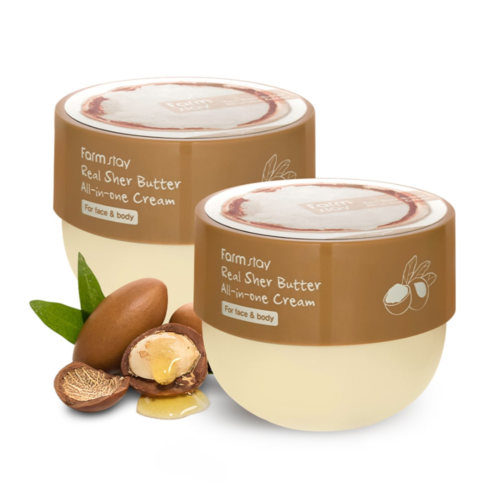 Увлажняющий крем для лица и тела для всей семьи с маслом ши Farmstay Real Shea Butter All-In-One Cream 300 мл