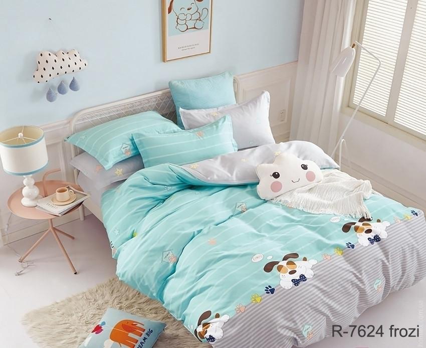 Двуспальный Евро комплект постельного белья Ранфорс с компаньоном R7624 frozi