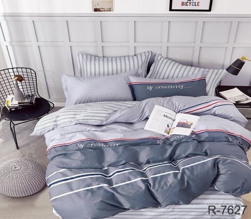 Двуспальный Евро комплект постельного белья Ранфорс с компаньоном R7627