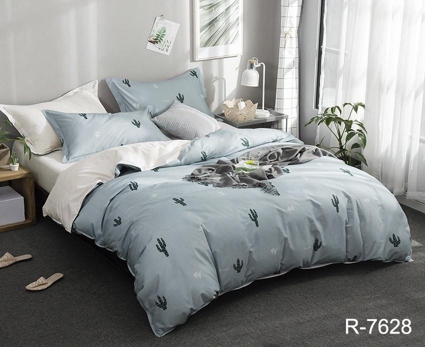 Двуспальный Евро комплект постельного белья Ранфорс с компаньоном R7628