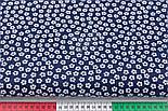 "Лоскут ткани""Густые мелкие цветочки"", фон - тёмно-синий, №2971а,размер 29*80 см, фото 3"