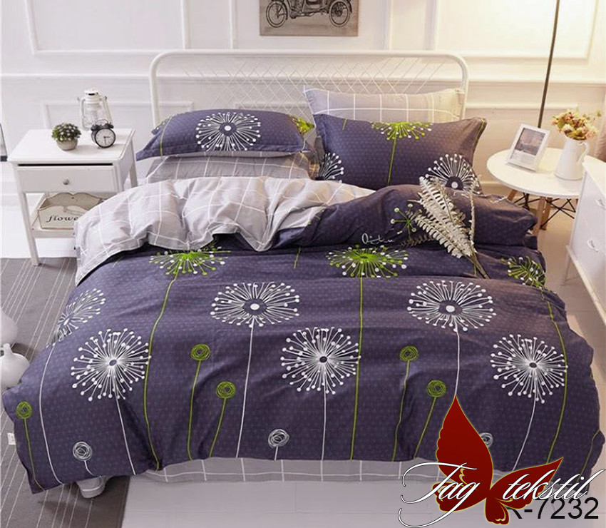 Двуспальный комплект постельного белья Ранфорс с компаньоном R7232