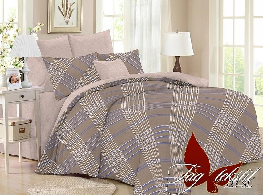 Двуспальный Евро комплект постельного белья поплин  с компаньоном SL323