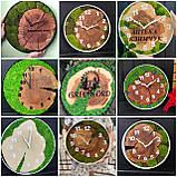 Годинник в металевому обідку до 30 см зі стабілізованим мохом Дерев'яні настінні Оригінальний декор подарунок, фото 3