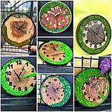 Годинник в металевому обідку до 30 см зі стабілізованим мохом Дерев'яні настінні Оригінальний декор подарунок, фото 6