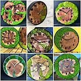Годинник в металевому обідку до 30 см зі стабілізованим мохом Дерев'яні настінні Оригінальний декор подарунок, фото 5