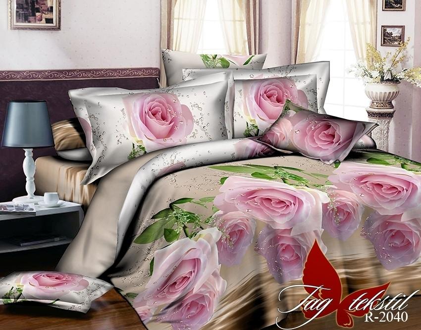 Двуспальный Евро комплект постельного белья Ранфорс  R2040