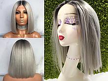 Парик боб каре серебристый блонд на сетке из термоволос, имитация кожи головы (KJ0010)