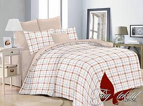 Двуспальный Евро комплект постельного белья поплин  с компаньоном SL326