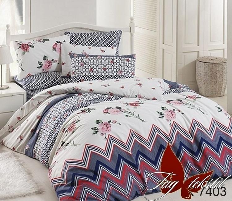 Двуспальный комплект постельного белья Ранфорс с компаньоном R7403