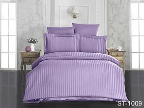 Полуторный комплект постельного белья Страйп сатин ST-1009
