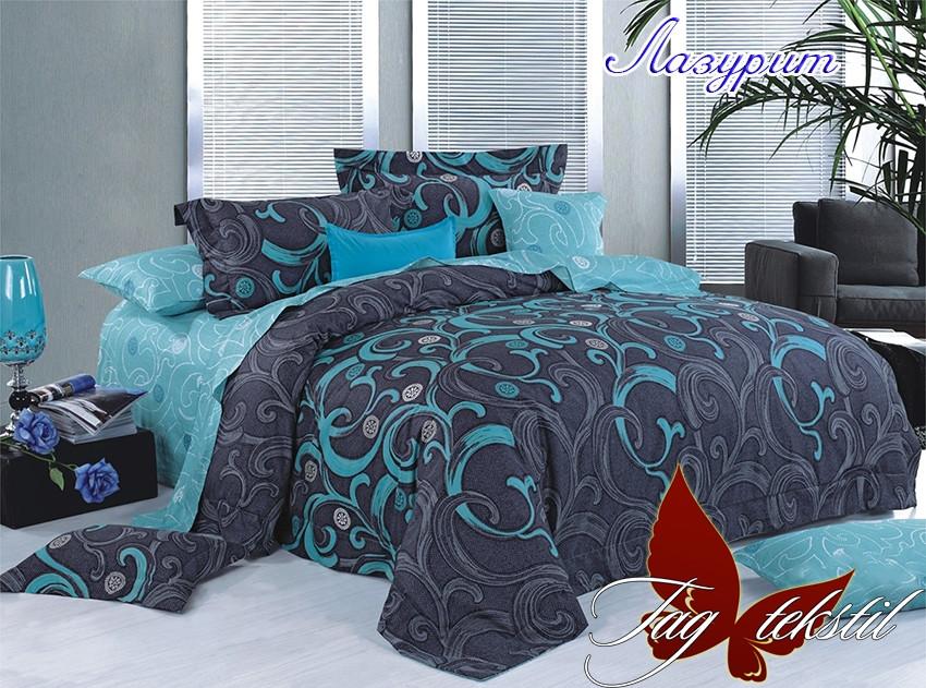 Двуспальный комплект постельного белья Ранфорс с компаньоном Лазурит