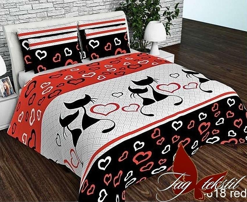 Двуспальный комплект постельного белья Ранфорс R618red