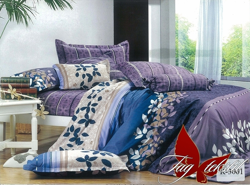 Двуспальный Евро комплект постельного белья Ранфорс  R3001